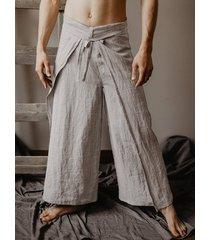 hombres abrigos joggers sólidos vendimia pescador tailandés suelto pantalones