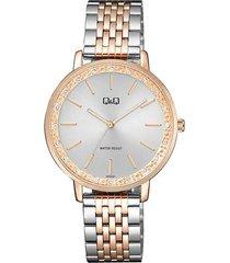 reloj para dama elegante q&q qc09j401y bicolor
