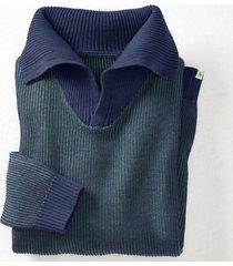 gebreide pullover uit hennep/bio-katoen met xxl-troyer-kraag, oceaanblauw s