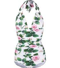 dolce & gabbana tropical rose print swimsuit - white
