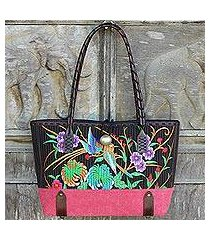 cotton shoulder bag, 'mandarin tropical in red' (thailand)
