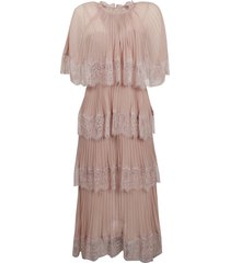 self-portrait abito chiffon cape tiered