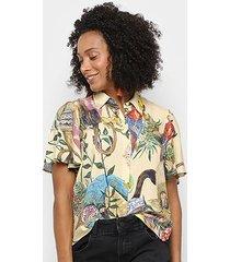 camisa colcci woman manga curta feminina