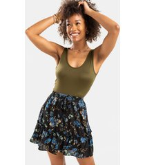 kriss floral ruffled mini skirt - black