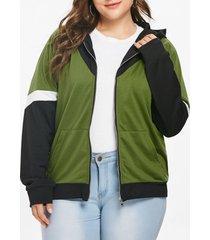 plus size patchwork zip up hoodie