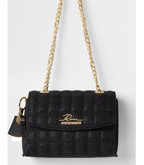 river island womens black sparkle quilted satchel bag