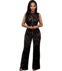 black lace jumpsuit wide leg long pants women clubwear bodycon rompers trousers