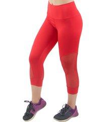 calça legging corsário 4 estações com tela furadinha feminino vermelho