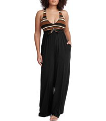 women's robin piccone simone sleeveless wide leg jumpsuit, size large - brown