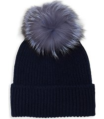 cashmere rib-knit fox fur beanie