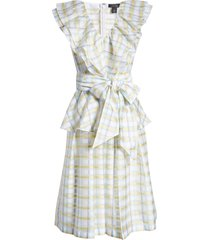 women's halogen x atlantic-pacific bow front plaid ruffle dress
