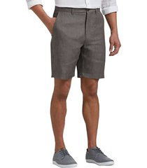 joseph abboud charcoal men's modern fit linen shorts - size: 42w