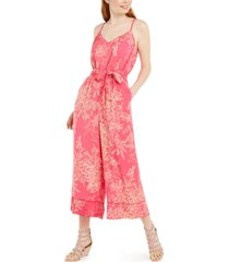 as u wish juniors' floral-print belted gaucho-leg jumpsuit