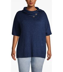 lane bryant women's dolman-sleeve poncho with button collar 26/28 maritime donegal