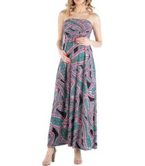 24seven comfort apparel multicolor paisley sleeveless empire waist maternity maxi dress