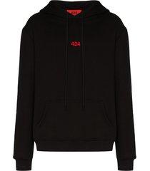424 logo-embroidered hoodie - black