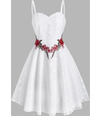 lace flower applique cami party dress