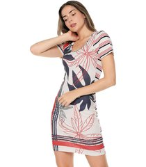 vestido casual manga corta estampado multicolor con flores y listras horizontales natural basic