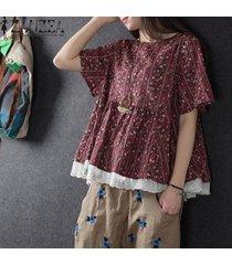 zanzea mujeres más el tamaño de manga corta suéter superior tee camiseta floral de la blusa -rojo