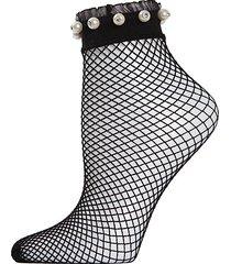 faux pearl ruffle-cuff fishnet anklet socks