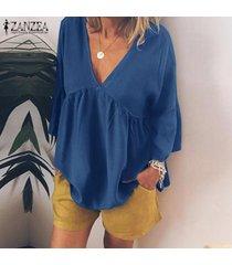 zanzea camisa casual con cuello en v de manga larga para mujer túnicas blusa suelta plisada tops plus -azul