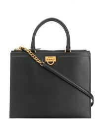 salvatore ferragamo structured tote bag - black