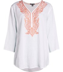 saks fifth avenue women's embroidered linen top - white - size xl