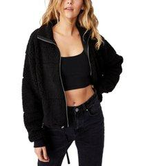 cotton on women's tatum zip thru teddy sweater jacket