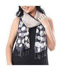 batik silk scarf, 'bubbles in stone' (thailand)