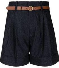 chloé high-waist belted shorts - blue