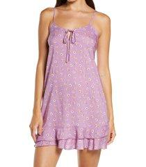 women's bp. katie check chemise, size large - purple
