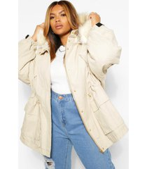 plus faux fur lined hooded parka, sand