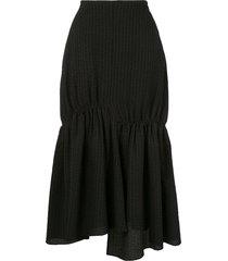 goen.j gathered seersucker skirt - black