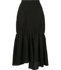 goen.j gathered seersucker skirt - black