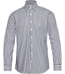 stripe stretch slim shirt overhemd casual blauw calvin klein