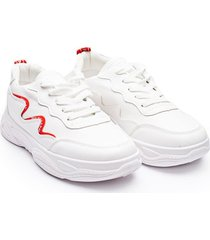 tenis lineas curvas rojas color blanco, talla 37