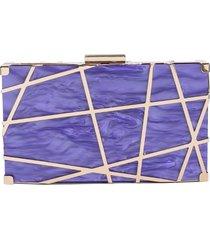 bolsa clutch de acrílico isla galerias marmorizada cor violet