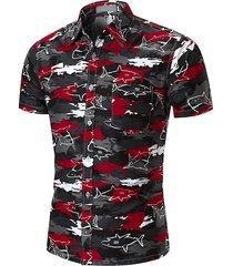 casual shark camicia manica corta stampa per uomo