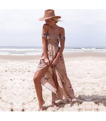 vestido de fiesta con estampado de playa suelta en el hombro-albaricoque