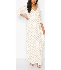 maternity polka dot wrap maxi dress, white