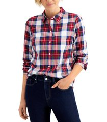 charter club cotton plaid shirt created for macy's
