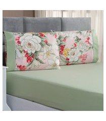 jogo de cama forest floral verde/rosê solteiro micropercal 200 fios 02 peças