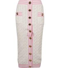 balmain multi-button ribbed skirt
