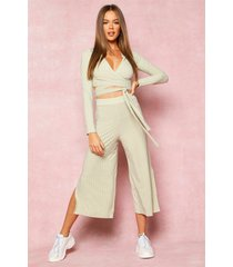 recycled wrap front rib crop & culottes, olive
