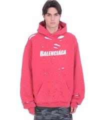 balenciaga sweatshirt in red cotton
