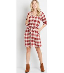 maurices womens plaid button front tie waist long sleeve shirt dress red
