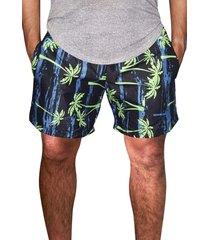 shorts praia estampado masculino microfibra azul com bolsos laterais ref.386.24