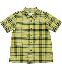 burberry yellow check cotton poplin shirt