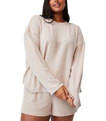 plus size trendy super soft long sleeve crew sweater