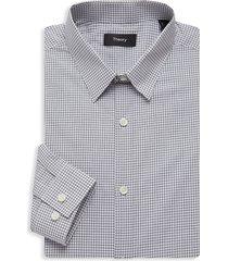 theory men's cedrick regular-fit check poplin dress shirt - malbec - size 14.5 r